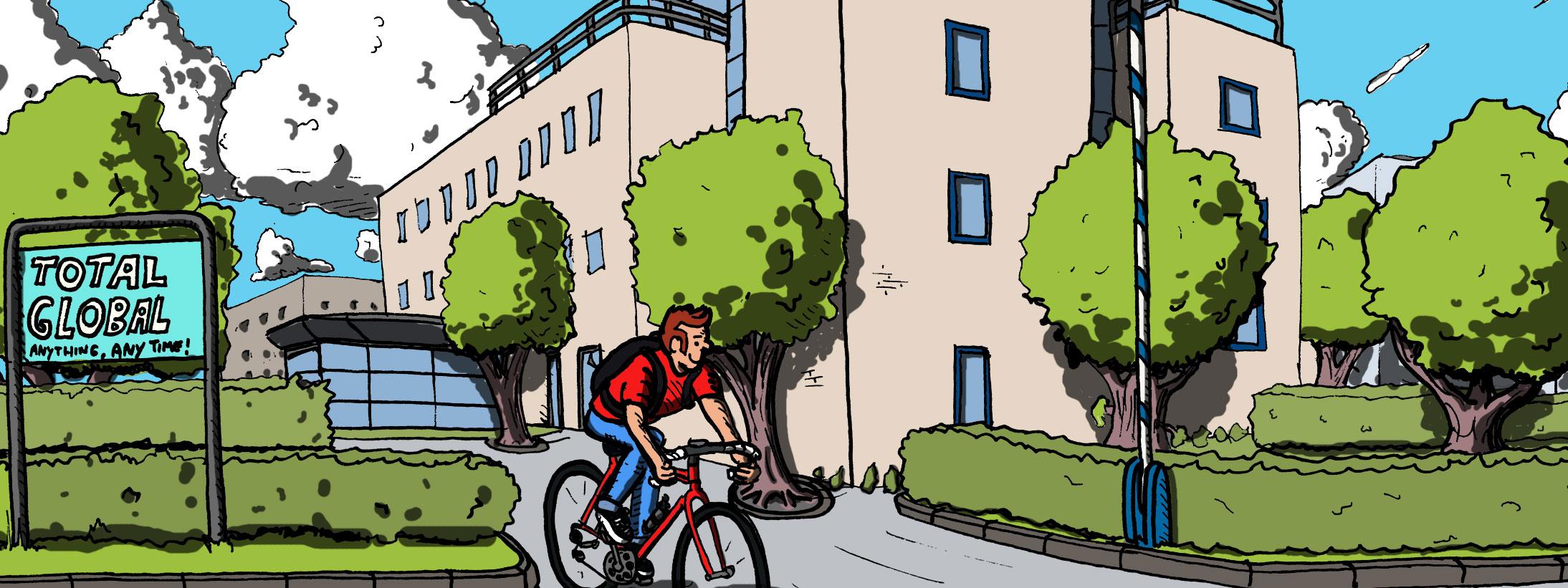 Epic Eddy verlaat het kantoor op zijn racefiets